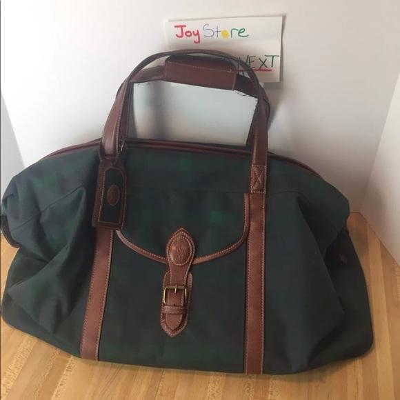 Vintage Polo Ralph Lauren Plaid Dufflebag Leather.  M 5a70b86e9cc7ef8bfff700d6 dc63e156a160c